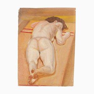 Jean-Raymond Delpech, Nude of Lying Girl, Original Mixed Media, 1940s