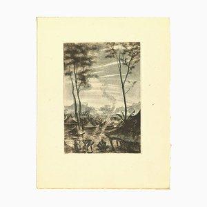 Emmanuel Gondouin, Afrika, Leben im Dorf, Original Lithographie, 1930er
