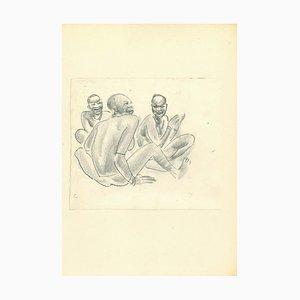 Emmanuel Gondouin, Africa, Women in Conversation, Lithograph, 1930s