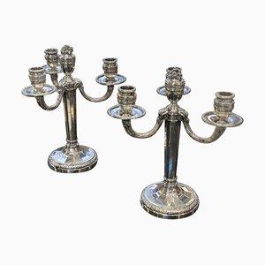 Candélabres en Argent Style Louis XVI, Set de 2