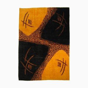 Tapis Animalier Yellow Mid-Century Bleu Jaune par Zeki Muren, 1970s