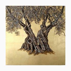 Öl und Blattgold Malerei, Olivenbaum, Landschaft, 2020