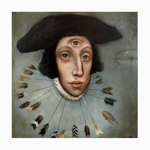 Saint Edmund, Öl auf Leinwand, Geheimnisvoll und skurril, Pop Art Portrait, 2020