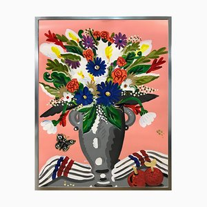 Bouquet, Pop Art Style and Classical, Framed Colorful Still-Life Flower Painting, 2018