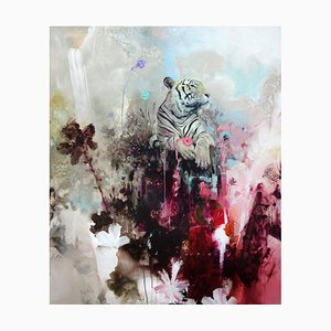 Mount Fortitude, Abstract Realism, Tiger with Bright Colours, Layered Texture, 2021