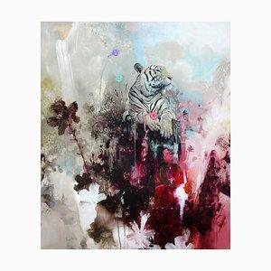 Mount Fortitude, Abstrakter Realismus, Tiger mit Leuchtenden Farben, 2021