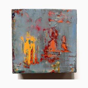 Genesis, olio su tela, pittura astratta variopinta, 2016