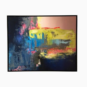 Chasing the Rain, Contemporary Bright Bold, Framed Abstract Painting on Canvas, 2018