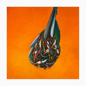 Drop, Orange & Colorful Abstract Bird Painting, Oil on Canvas, 2015