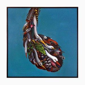 Ed Smith, Pendel, Gerahmte abstrakte Vogel-Malerei, Öl auf Leinwand, 2015