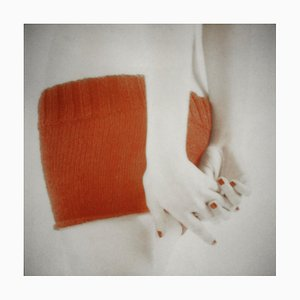 Orange Knit with Clasped Hands, Figurative and Feminine Photography, Mira Loew, 2016