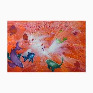 Leibniz Universe 15u, Contemporary and Colorful Underwater Scene, Oil on Canvas, 2016