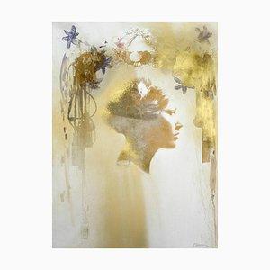Sophie # 5, Retrato mixto pintado a mano, fotografía enmarcada en papel, 2012