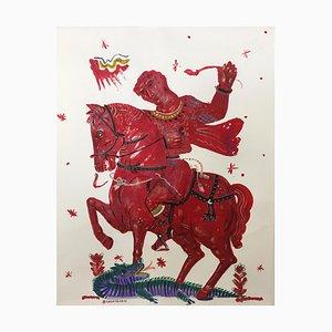 Victoria y romance, pintura mitológica sobre papel con jinete y caballo rojo, 2015