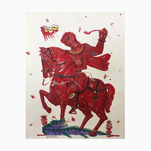 Victory and Romance, Mythological Painting on Paper with Red Rider and Horse, 2015
