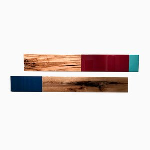 David E. Peterson, Leaner Set #3132, Contemporary Colorful Wooden Wall Sculpture, 2017