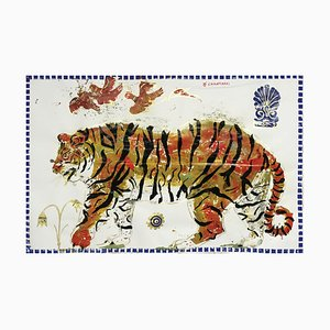 Tiger in Sunrise, Ancient Inspired Gemälde auf Papier mit Acryl und Blattgold, 2015