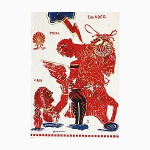 Thunder, Painting on Paper with Greek Mythological Ram, Acrylic and Gold Leaf, 2015