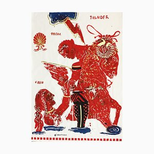 Thunder, Pittura su carta con montatura mitologica greca, acrilico e foglia d'oro, 2015