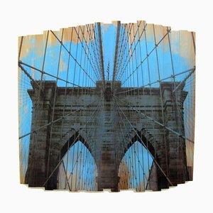 Ponte Brooklyn Bridge III, cielo azzurro, Fotografia su legno, 2017