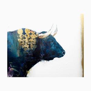 Victoria, pintura al óleo abstracta contemporánea, dorado y capas de colores con toro, 2018