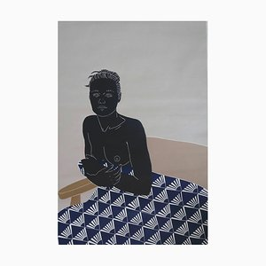 Her Thoughts Lingered, Female Nude Figurative Linocut Original Print, Unframed, 2020