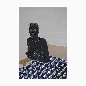 Her Thoughts Lingered, Weiblicher Akt Figurativer Linolschnitt Original Druck, Ungerahmt, 2020