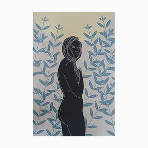 Unseen Unbekannt, Weiblicher Figurativer Akt, Original Linolschnitt Druck, Ungerahmt, 2020
