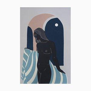 She Did Not Hurry, Female Figurative Linocut Original Print, Unframed, 2020