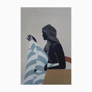 Einsamkeit und Nähe suchen, Weiblicher Akt, Original Linolschnitt Druck, Ungerahmt, 2020