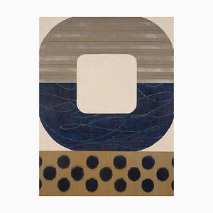 Mitternachts Ikat, Auffällige Geometrische Abstrakte Malerei, Moderne Blau & Beige Palette, 2017