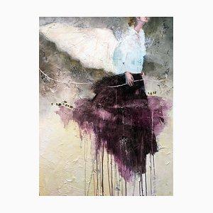 Une Presence, Strukturierte Mixed Media Malerei mit Poetischer Fliegenden Frau und Flügeln, 2019