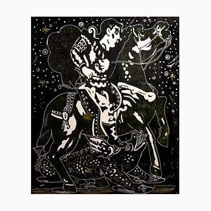 Esplorando una notte stellata, mitologico personaggio dipinto, 2020