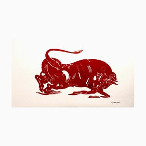 El Toro, Mythological Animal, Strong Red Bull Painting on Paper, 2020