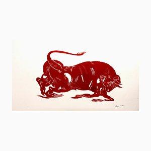 El Toro, Mythologisches Tier, Starke Red Bull Malerei auf Papier, 2020