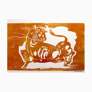 Taurus, Animal mitológico, Toro amarillo fuerte, Pintura monocromática sobre papel, 2020