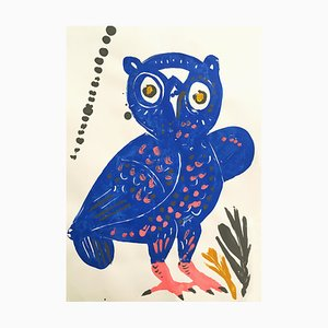 Ambrosia, Owl #9, The Wise Guys Series, Pop Contemporary Blue Bird Painting, 2020