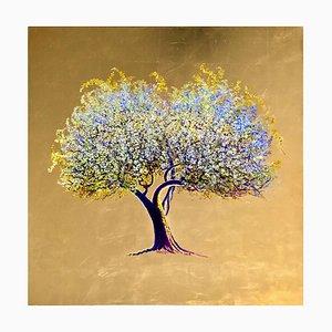 Riti di primavera, olio su tela con foglia d'oro, contemporaneo albero di fioritura bianco, 2020