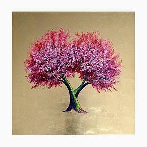 Öl auf Leinwand mit Blattgold, Contemporary Pink Flower Tree, 2020