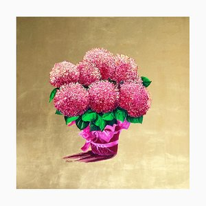 The Gift, Pink and Gold Leaf Painting with Flowers Blossoming Flowers, 2020