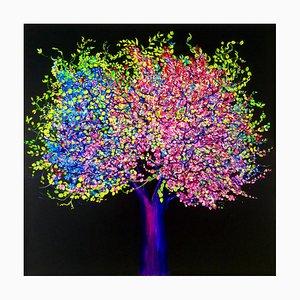 Pittura esuberante, luminosa e colorata con fiori e alberi, 2020