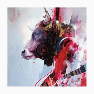 Notorious, Contemporary Realist Abstract Bull with Bold Colors, Layered Texture, 2020