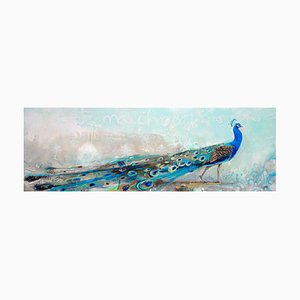 Beauté Victorienne, Abstract Turquoise Peacock with Bold Colors, Layered Texture, 2020
