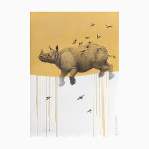Jouney No. 6 Yellow Rhino, Watercolor & Charcoal of Flying Rhinoceros and Birds, 2016