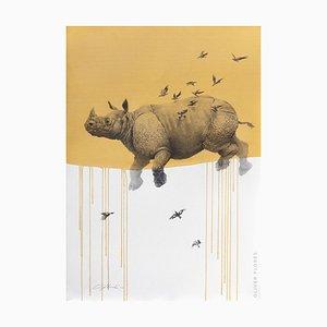 Rinoceronte y pájaros Jouney No. 6 en amarillo, acuarela y carboncillo de rinoceronte volador y aves, 2016