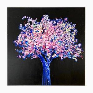 Blue Moon Tree, Bright and Colorful Painting mit Blühenden Blumen und Baum, 2020