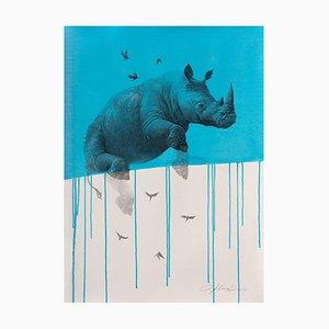 Jouney No. 4 Blue Rhino, acuarela y carboncillo de rinoceronte volando y pájaros, 2016
