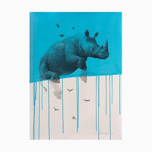 Jouney No. 4 Blue Rhino, Watercolor & Charcoal of Flying Rhinoceros and Birds, 2016