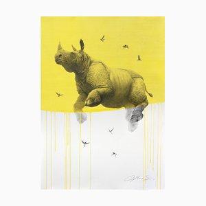 Rinoceronte Jouney nr. 5 giallo, acquerello e carboncino di rinoceronte e uccelli, 2016