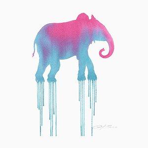 Pink Elephant, Watercolor & Pencil Blue Moose on Watercolor Paper, 2016
